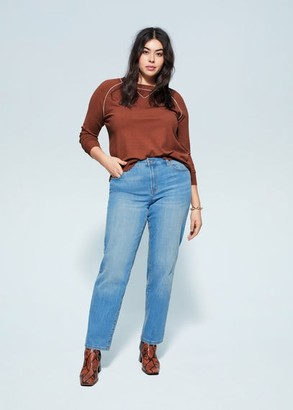 MANGO Violeta BY Contrast trim sweater caramel - S - Plus sizes