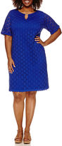 Ronni Nicole Elbow Sleeve Lace Circles Sheath Dress-Plus