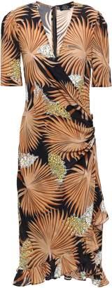 De La Vali Wrap-effect Ruffle-trimmed Silk Crepe De Chine Dress