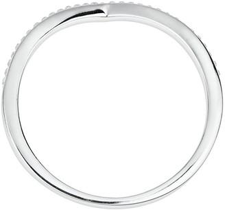 Evoke Sterling Silver Swarovski Crystal Wishbone Ring