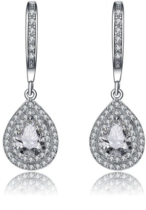 Collette Z Sterling Silver Pear Drop Cubic Zirconia with Double Halo Earrings - White