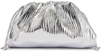Bottega Veneta Leather Bark Metal Pouch Crossbody Bag in Silver & Gold | FWRD