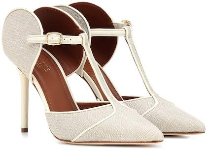 Malone Souliers Imogen leather and canvas pumps