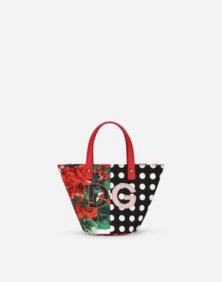Dolce & Gabbana Poplin Patchwork Shoulder Bag With Patch Embellishment