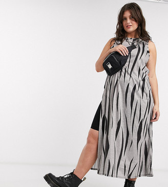 Another Reason Plus jersey maxi dress in zebra print with thigh splits