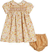 Isabel Garreton Hand-Embroidered Floral Peter Pan Collar Dress w/ Bloomers, Size 6-12 Months