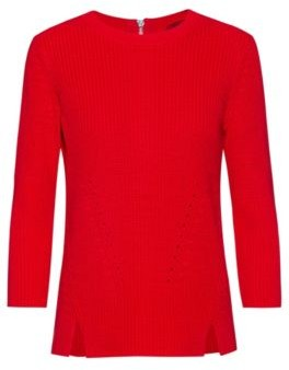 HUGO Cotton crew-neck sweater with rear zip