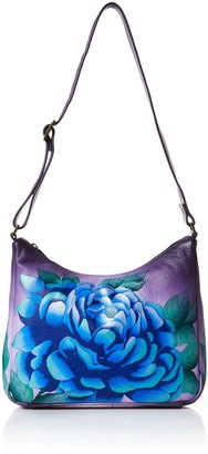 Anuschka Anna by Women's Genuine Leather Medium Hobo Shoulder Bag   Hand Painted Original Artwork   Midnight Floral