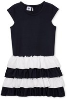 Petit Bateau Girls short-sleeved ruffled dress.