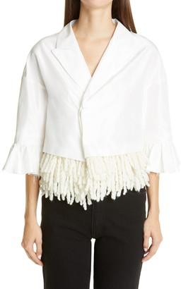 Undercover Crop Fringe Trim Silk Jacket