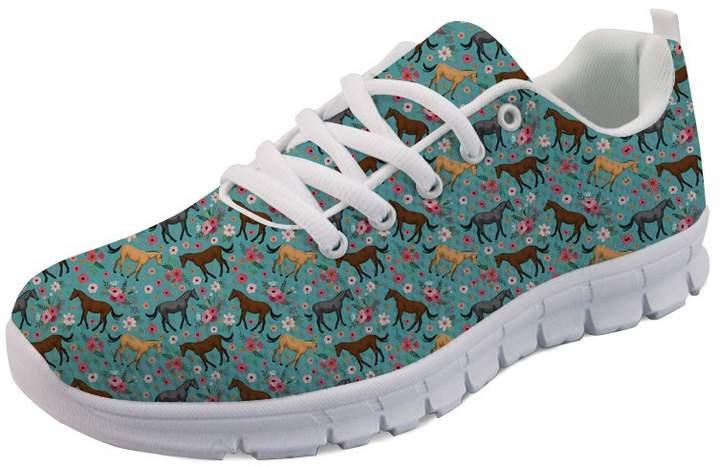 5e06938f0c6cb Showudesigns Sport Running Shoes Women Sneaker Crazy Horse Flower Print Blue
