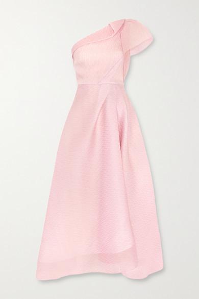 Thumbnail for your product : Roland Mouret Ostuni One-shoulder Silk-blend Organza-jacquard Midi Dress - Blush