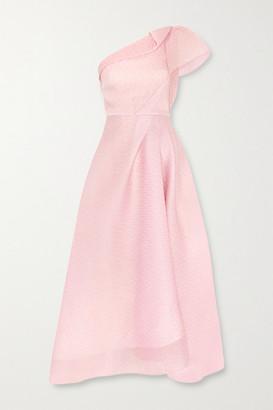 Roland Mouret Ostuni One-shoulder Silk-blend Organza-jacquard Midi Dress - Blush