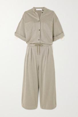 Ninety Percent Striped Organic Cotton-blend Twill Jumpsuit - Green
