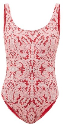 Etro Low-back Paisley-print Swimsuit - Pink Print