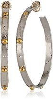 Devon Leigh Large Rhodium-Plated Hoop Earrings with Gold Bullets