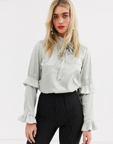 Y.A.S satin ruffle detail long sleeve blouse