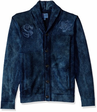 Lucky Brand Men's Embroidered Patchwork Indigo Shawl Sweater XXL
