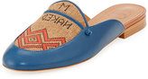 Malone Souliers Neva Leather & Textile Flat Mule, Blue