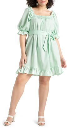 ELOQUII Smocked Front Minidress