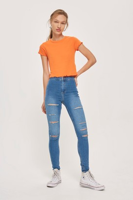 Topshop Womens Mid Blue Super Ripped Joni Jeans - Mid Stone