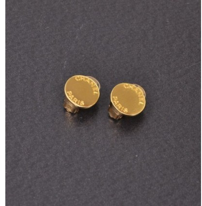 Chanel excellent (EX Gold Tone Round Earrings