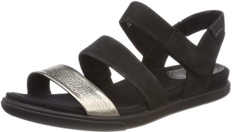Ecco Women'sDamara Sandal Warm Grey/Black Lyra M/Cha 8.5