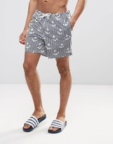 Asos Swim Shorts With Anchor Stripe In Mid Length