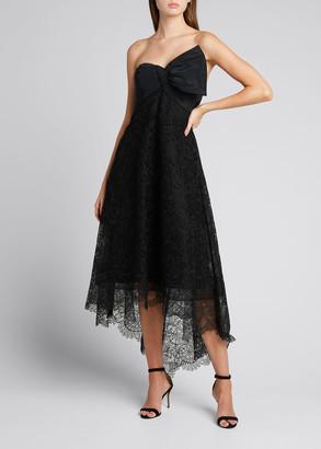 Rickie Freeman For Teri Jon Strapless High-Low Lace A-Line Dress w/ Taffeta Bow