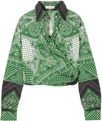Etro Cropped Printed Cotton-blend Wrap Top
