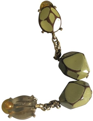 Philippe Ferrandis Khaki Metal Earrings