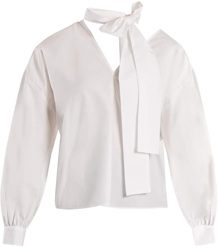 MSGM Tie-neck cotton-poplin top