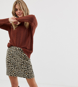 Miss Selfridge sweater with frill neck in rust-Brown