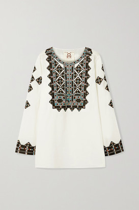 Figue Iris Embroidered Cotton-voile Top - White