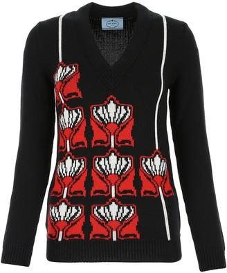 Prada V-Neck Intarsia Motif Sweater
