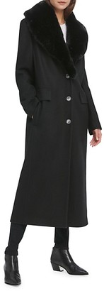 DKNY Maxi Melton Faux Fur Wool-Blend Coat
