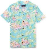 Ralph Lauren Printed Slub Jersey Polo Shirt, Faded Palm, Size 5-7