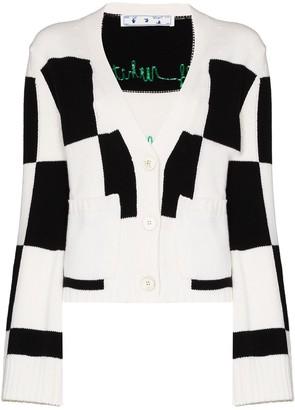 Off-White Checkered Fine-Knit Cardigan
