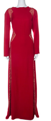 Tadashi Shoji Red Crepe Lace Inset Edie Gown L