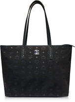 MCM Black Large Nylon Top Zip Dieter Monogrammed Shopping Bag