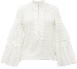 Giambattista Valli Tiered-sleeve Floral-lace Blouse - Womens - Ivory