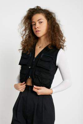Urban Renewal Vintage Salvaged Deadstock Black Overdyed Utility Gilet - black XS at Urban Outfitters