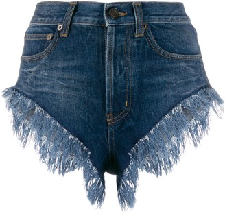 Saint Laurent Fringed Short Denim Shorts