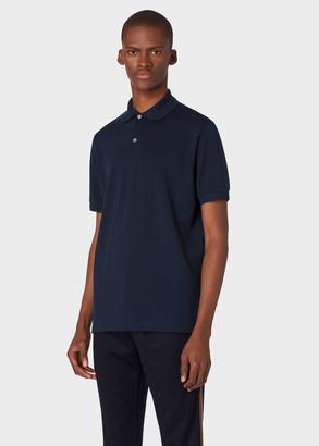 Paul Smith Men's Slim-Fit Dark Navy Cotton-Pique Polo Shirt With 'Artist Stripe' Placket