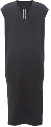 Rick Owens V-neck Side-slit Crepe Dress - Womens - Black
