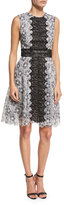 Monique Lhuillier Sleeveless Two-Tone Lace Dress, Black/White