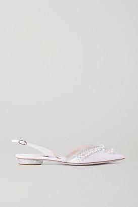 Rene Caovilla Crystal-embellished Cutout Leather Point-toe Flats - Ivory