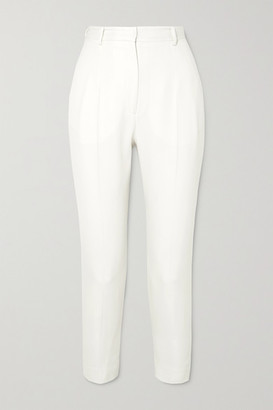 Alexander McQueen Grain De Poudre Wool Slim-leg Pants - White