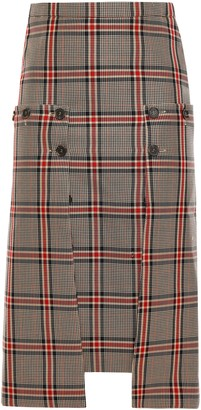 Rokh Button-detailed Layered Checked Jacquard Skirt