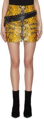 Taverniti So Ben Unravel Project Buckled waist multi-zip snake print skirt